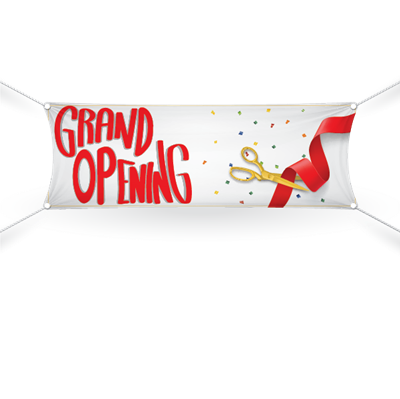 Grand Opening Banner-White