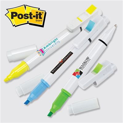 Post-it® Custom Printed Flag+ Pen and Highlighter Combo